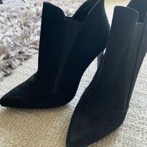 Sexy Zara Black Suede Stiletto Ankle Booties
